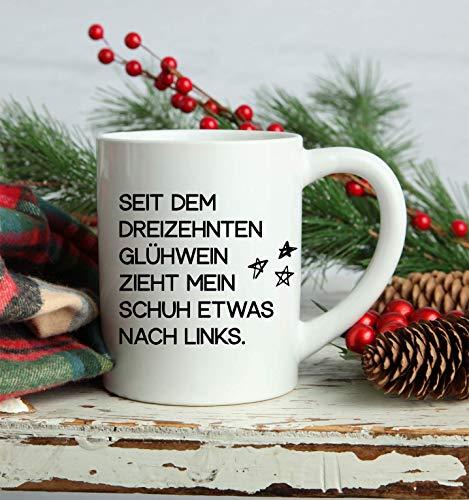 Kaffeetasse Glühweintasse mit lusitgen Sprüchen | Tasse für Glühwein oder Kaffee | aus weißen Keramik | Spühlmaschinen geeigent | lustiges Geschenk für Weihnachten