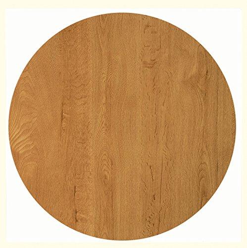 Werzalit Tischplatte, Dekor Eiche 80 cm rund wetterfest Ersatztischplatte Bistrotisch Stehtisch Tisch Gastronomie