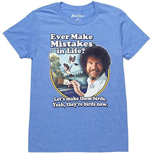 Bob Ross Let's Make Them Birds Adult T-Shirt - Heather Navy (Small)
