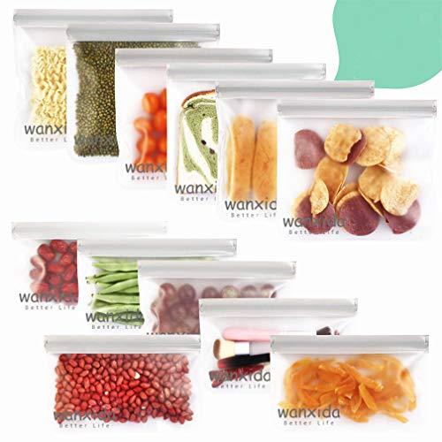 Wanxida 12 Paquetes Bolsas Reutilizables para Almacenamiento de Alimentos, Bolsas Extra Grueso a Prueba de Fugas Ziplock para Sándwiches, Verduras, Frutas, Snacks, sin BPA