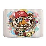 Ngkaglriap Alfombrillas para baño, Animal Hipster Rapper Tiger con Gafas de Sol Sombrero y cámara Artista Hippie Animal Comic,con Respaldo Antideslizante,29.5'X17.5'