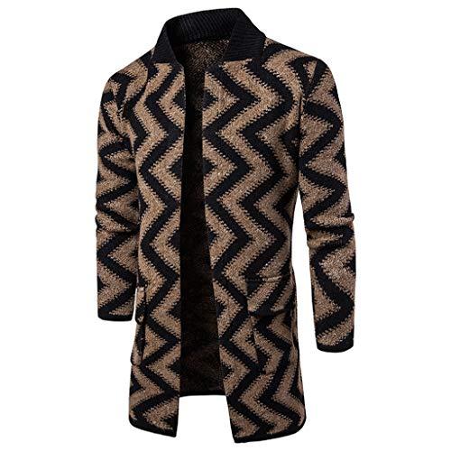Mens Trench Coat Slim Fit Cardigan Overcoat,Jchen Men's Stand Collar Wave Striped Print Woolen Coat Long Sleeve Trench Coat Windbreaker Coat Best Valentine Gifts