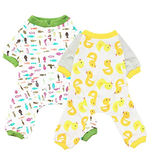 Scheppend 2-Pack Pet Clothes Puppy Cute Pajamas Dogs Cotton Rompers Cats Jumpsuits Cosy Apparel Dog Shirt Small Canine Costumes, Duck & Fish M