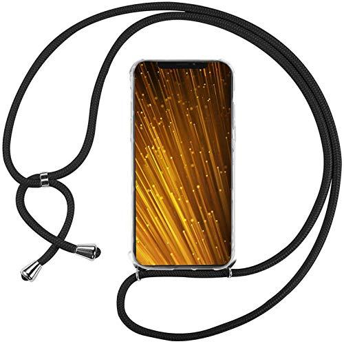 Mi-Case Funda con Cuerda para Xiaomi Mi MAX 3, Carcasa Transparente TPU Suave Silicona Correa Colgante Ajustable Collar Correa de Cuello Cadena Cordón - Negro