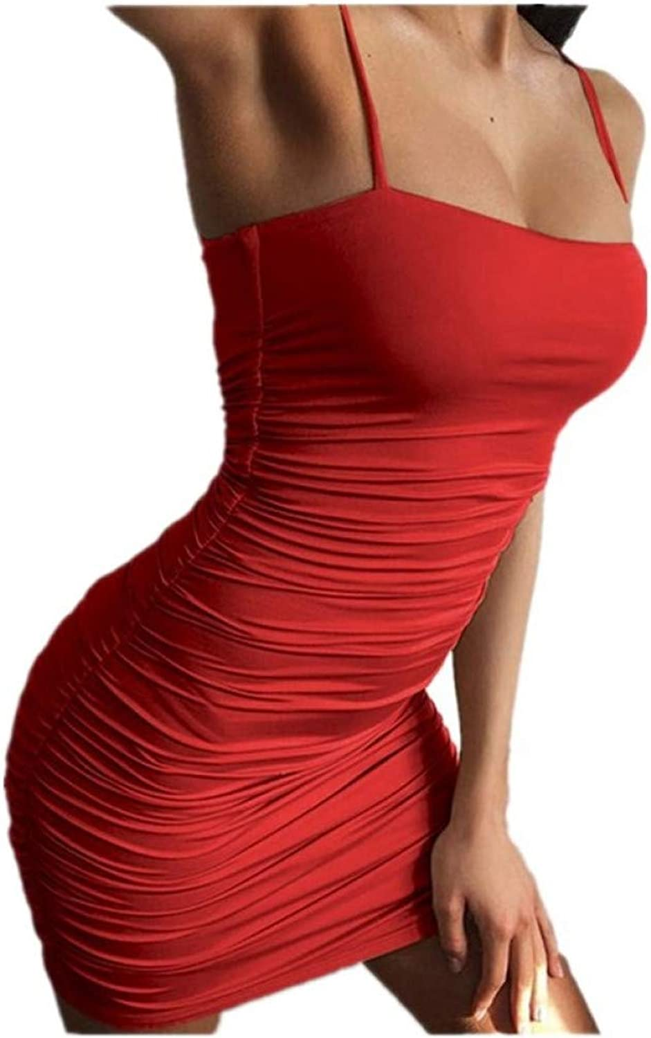 XIAOAHUI Women's Dress Summer Strap Folds Slim Package Hip Wrapped Chest Dress