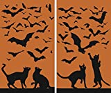 WOWindow Posters Cats & Bats Silhouettes Orange and Black Halloween Window Decoration includes two 34.5'x60' Backlit Posters