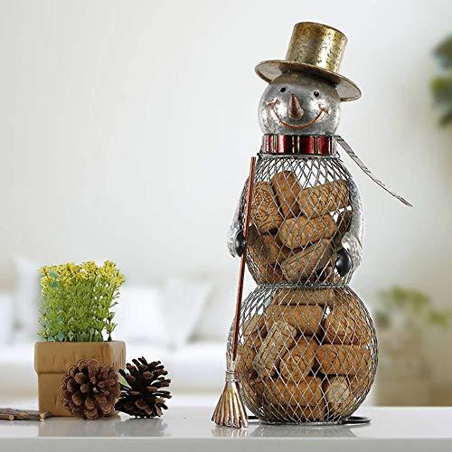 WHSS Decoración para el hogar marrón muñeco de nieve de corcho recipiente para TV Vitrina de almacenamiento de hierro, tapón de botella, tarro práctico decorativo de 12 x 14 x 33 cm