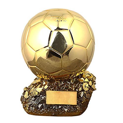 PTKU Resina ArtesaníA Trofeo De FúTbol,BalóN De Oro Recuerdo,con DecoracióN del Hogar,para NiñOs Y Amigo Regalo,Aficionados Al FúTbol ColeccióN Recuerdo,21cm