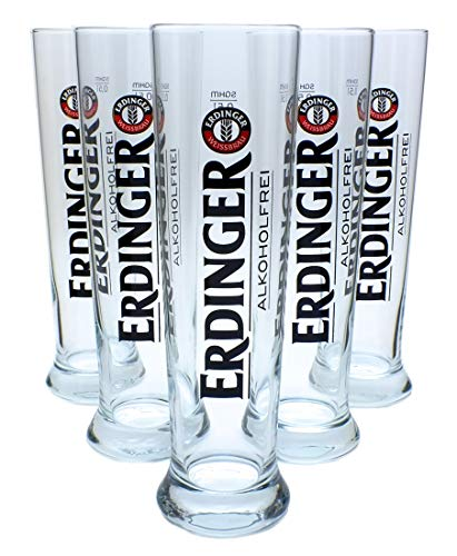6x Erdinger Alkoholfrei Weizenbierglas 0,5L, Gläser, Bierglas, Markenglas, Weißbierglas (ohne Flaschenausgießer)