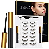 Upgraded 7 Pairs Magnetic Eyelashes Kit With Double Eyeliner, Reusable 3D 5D Magnetic Eyelashes with Eyeliner,Magnetic Eyeliner and Magnetic Eyelash Natural Look-No Glue Needed
