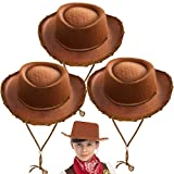 Spooktacular Creations Children's Brown Felt Cowboy Hat 3 Pack For Halloween Costume Accessories, Prop, Kits, Dress-up Party, Role Play, Cosplay, Holiday Decorations