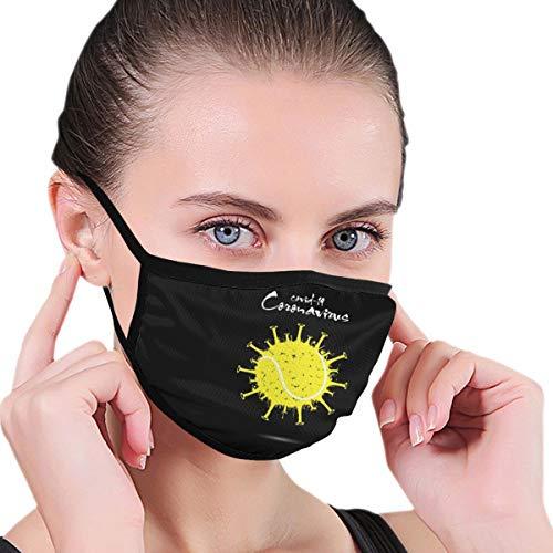 Design with Illustration Coronavirus with Tennis Ball Face Protection Reusable Bandana 2 Layers Fabric Head Scarf Washable Neck Gaiter Earloop Black