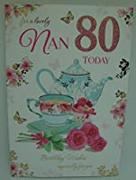 ナン80 80ハッピーバースデーティーポット&ケーキデザイン良質のカード、素敵な詩