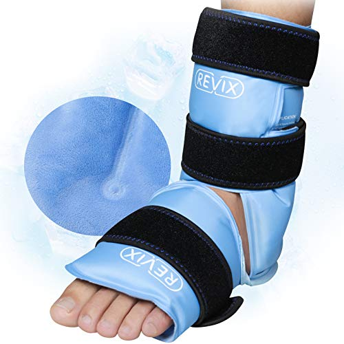 REVIX Ankle Ice Pack Wrap for Injuries Reusable Gel Foot Cold Pack for Achilles Tendonitis, Plantar Fasciitis and Sprained Ankles or Feet Pain Relief