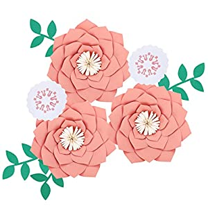 Fonder Mols Artificial Dahlia Paper Flower Decorations for Nursery Wall Decor, Baby Shower Backdrop (Fresh Pink)