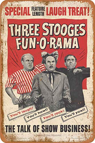 Cimily Three Stooges Vintage Tin Signs Tin Poster Retro Metal Sign Plaque Art Wall Decor 8×12 Inch