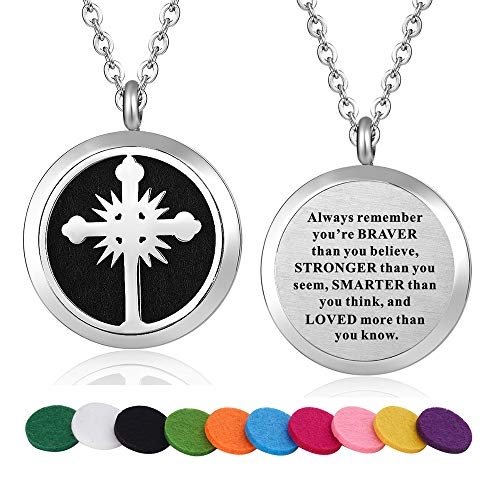WPFdesign Stainless Steel Religious Cross Aroma Therapy Aromatherapy Essential Oil Diffuser Necklace Locket Pendant