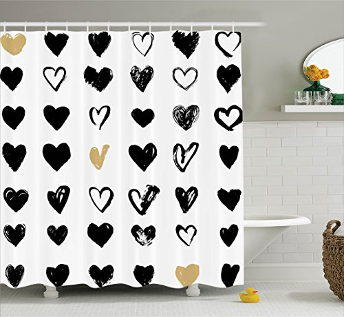 """Ambesonne Love Shower Curtain, Small Heart Let Me Love You Hipster Liking Spouse Couples Design, Cloth Fabric Bathroom Decor Set with Hooks, 70"""" Long, Tan Black"""