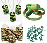Military Army Party Favors Boy's Camouflage Bracelets Dog Tags Bags Toys 180 Piece Bundle