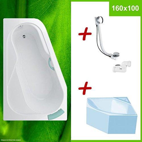 Badewanne mit Wannenträger und Excentergarnitur - BODAM L 160x100 cm
