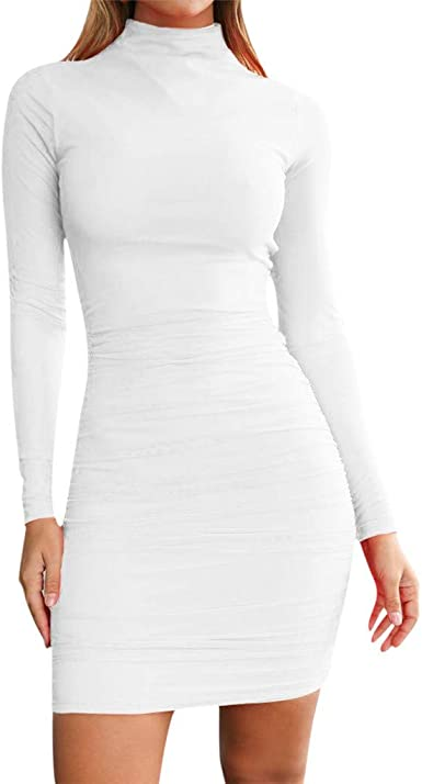 Femme Col Roulé Uni 3//4 à Manches Longues Casual Skinny Stretch Robe Moulante