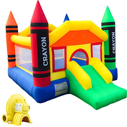 Inflatable Bounce House with Air Blower, Medium Crayon Playhouse for Kids Bouncy Jumping Castle with Slide, Durable Sewn and Extra Thick Family Backyard Indoor Outdoor Bouncer