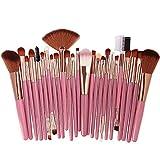 Pinceles de maquillaje 25 pcs/Set Beauty Foundation Powder Blush Eyeshadow Brow Lash Fan Lip Face Cosmetics Soft Synthetic Hair Tool Kit-plata rosa