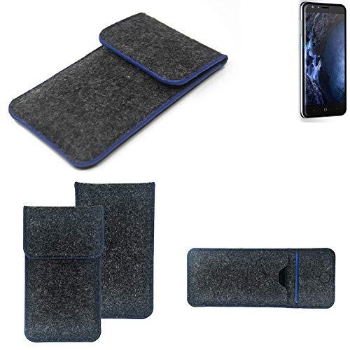 K-S-Trade Handy Schutz Hülle Für Doogee Y6 4G Schutzhülle Handyhülle Filztasche Pouch Tasche Hülle Sleeve Filzhülle Dunkelgrau, Blauer Rand