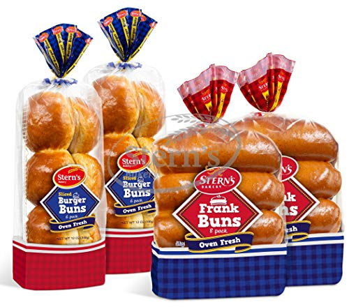 Hot Dog Buns & Hamburger Buns Combo Package, All-Time American Classic, Rich and Soft Texture, Kosher & Pre-Sliced Buns, 2 Packs of Hotdog Buns & 2 Packs of Burger Buns Included, 2-3 Day Shipping, Stern's Bakery
