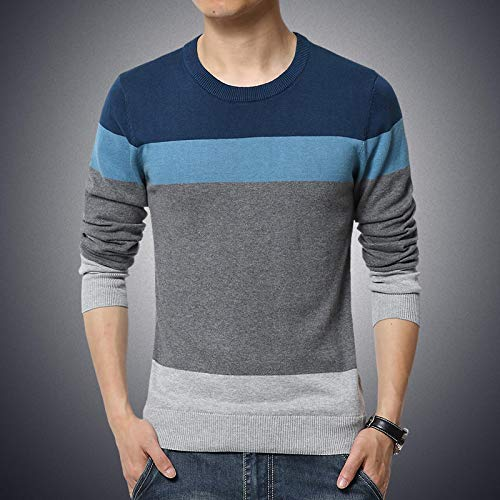 Trendy Sweater Mens Pullover Men Men's Sweater Autumn Winter Slim Fit Sweater Men Casual Jumper Men's Clothing 3XL Blue