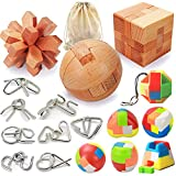 17 Pack Brain Teasers Puzzles for Kids & Adults, Brain Teasers Metal and Wooden IQ Puzzle Toys Mind Game 3D Coil Cast Wire Unlock Interlock Magic Ball Puzzles for Teenagers