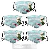 5 Pcs/Set Adult Face Masks Three White Tulips Washable Reusable Face Covering Mask_U209