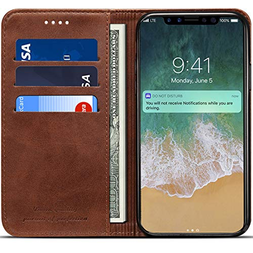 Wallet Case Compatible 2018 iPhone Xs/ 2017 iPhone X, PU Leather Wallet Case Folio Flip Cover, Brown, 5.8 inches