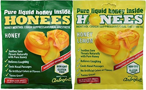 Honees Cough Drops 2 Flavors Honey and Honey Lemon 2 Pack Total 40 drops