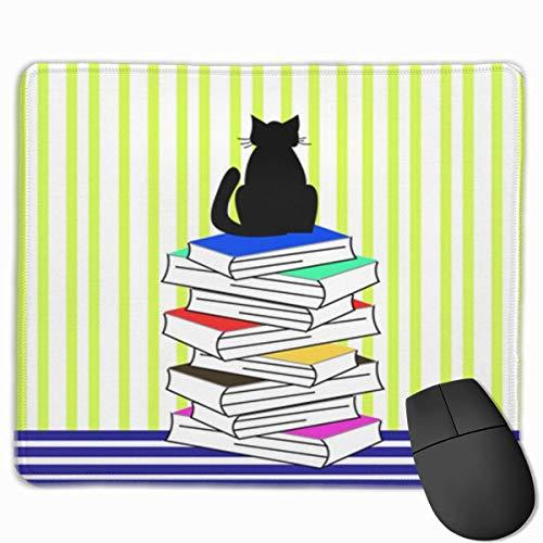 Nettes Gaming-Mauspad, Schreibtisch-Mauspad, kleine Mauspads für Laptop-Computer, Mausmatte Abstrakte Katzenbücher Linien Tierastrologie Schöner schwarzer Buchhandlungs-Cartoon