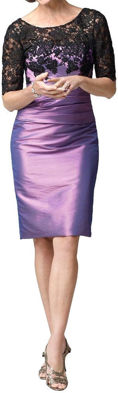 Angel Bride Women's Sheer Neck Applique Lace Sheath HalfSleeves Evening Dress