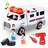 REMOKING Learning Take Apart Toy, Build Your Own Car Toy Ambulance Educational Playset with Tools and Power Drill, DIY Assembly Car Gifts for Kids with Realistic Sounds & Lights (3+ Ages)