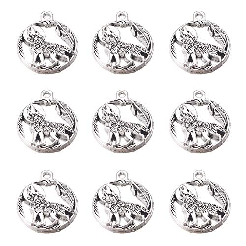 30pcs Antique Silver Animal Wolf Charms Pendants DIY Bracelets Necklace Jewelry Making Craft Wholesale 25mmX21mm (A474)