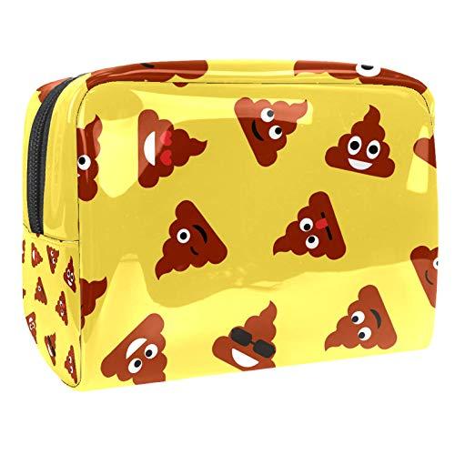 Tragbare Make-up-Tasche mit Reißverschluss, Reise-Kulturbeutel für Frauen, praktische Aufbewahrung, Kosmetiktasche, lustige Kot Emoticons, Gelb