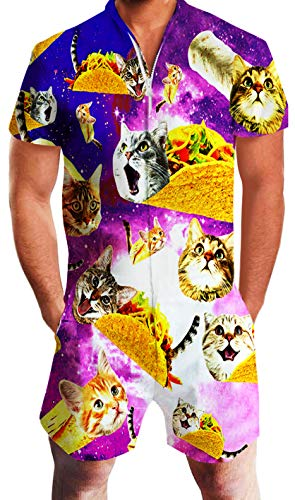 Goodstoworld Mens Jumpsuit Funny Cat Male Romper Rave Adult Summer Clothes Jumpers Overall Cargo One Piece Pant Short Medium