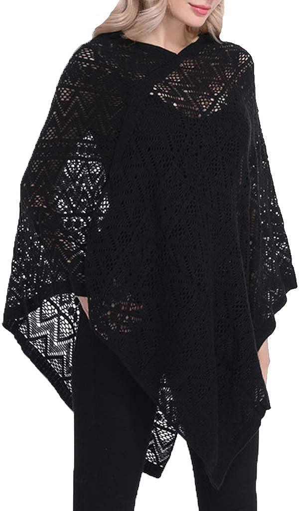 VINCINEY Women's Hollow Out Tassel Hem Knit Poncho Cape Batwing Sweater Shawls