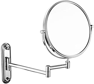 Wall-Mounted Makeup Mirror 7X Magnifying Wall-Mounted Vanity Mirror 6-inch Metal Copper Telescopic Folding Vanity Mirror 5CD1 (Color : Silver, Size : 6 inch 7X)