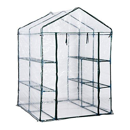 HOMCOM Serre de Jardin Balcon terrasse 4 étagères 143L x 143l x 195H cm Acier PVC imperméable Anti-UV Transparent Vert