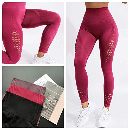 FITTOO Leggings Sin Costuras Corte de Malla Mujer Pantalon Deportivo Alta Cintura Yoga Elásticos Fitness Seamless #1 Rojo Large
