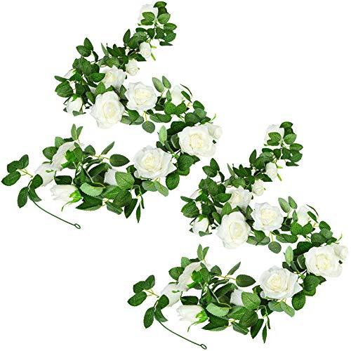2 Pezzi Ghirlanda Fiori Artificiali Rose Finti Ghirlanda di Seta Foglia Verde Rosa Artificiale vite Appesa Edera Fiore Rose Artificiali Finti per Decorazioni da Tavolo per Matrimoni
