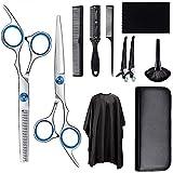 CNXUS 11 PCS Juego de tijeras de peluquería profesional, tijeras de corte de pelo, tijeras de adelgazamiento, kit de corte de pelo para el hogar, con capa de corte de pelo para hombres y mujeres