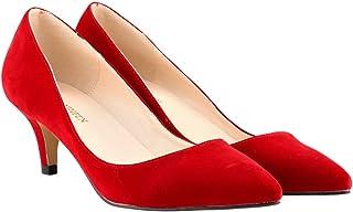 81213fc71fc1a7 wealsex Escarpins Suédé Talon Moyen Aiguille Bout Pointu Chaussure de Soirée  Mariage Couleur Uni Simple Classique