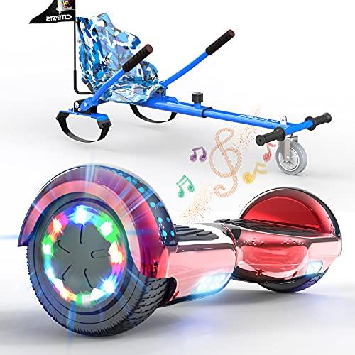 SOUTHERN WOLF Hoverboards autoequilibrados, Patinete eléctrico con Luces LED, Patinete autoequilibrado de 2x350 W con Altavoz Bluetooth, Incluye Kart, niños