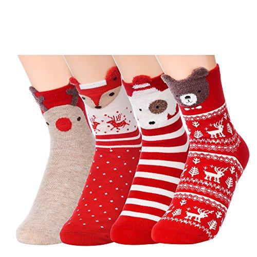 Antner Damen Socken Gr. One size, 4 Retro Fox and Bear