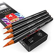 Arteza Real Brush Pens (A169 Orange Rust), Pack of 4, for Watercolor Painting with Flexible Nylon Brush Tips, Paint Markers for Coloring, Calligraphy and Drawing